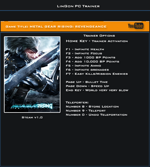 Скачать metal gear rising revengeance трейнер