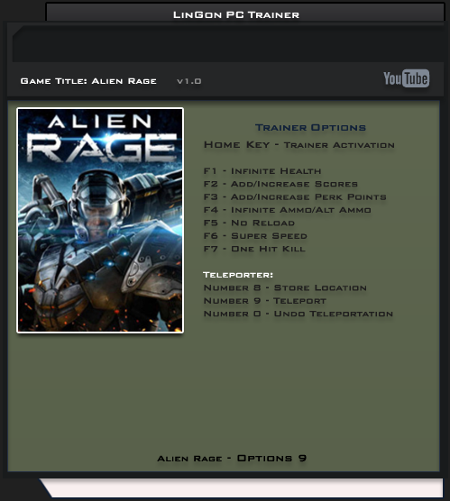 Alien Rage v1.0 STEAM +9 Trainer [LinGon]