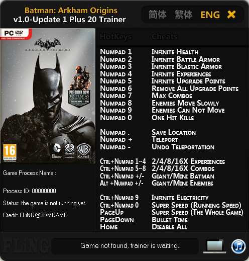 Batman Arkham Origins v1.0 Update 3 Trainer +20 [FLiNG]