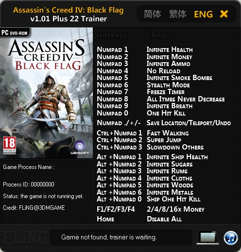 Assassin's Creed 4 Black Flag v1.01 Trainer +22 [FLiNG]