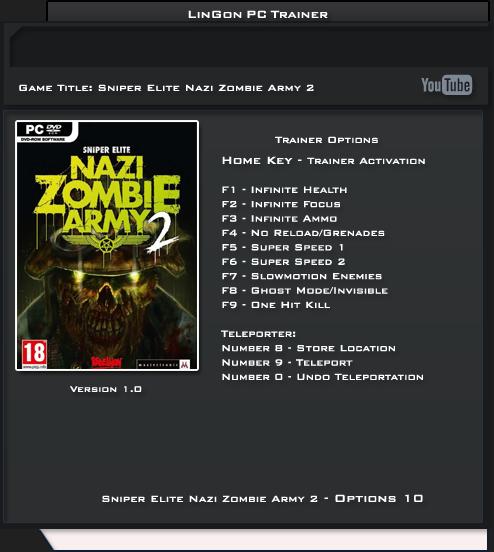 Sniper Elite Nazi Zombie Army 2 v1.0 Trainer +10 [LinGon]