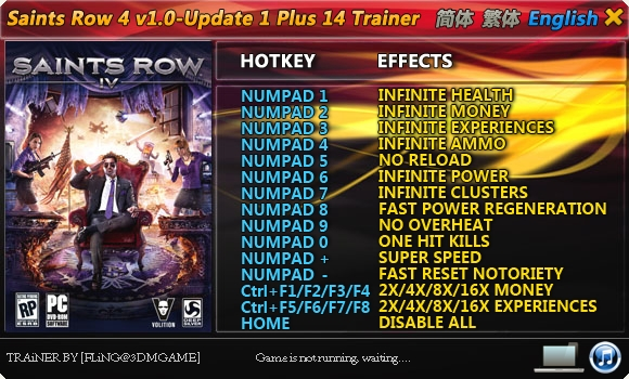 Saints Row 4 v1.0 – Update 1 Fixed Version +14 Trainer [FliNG]