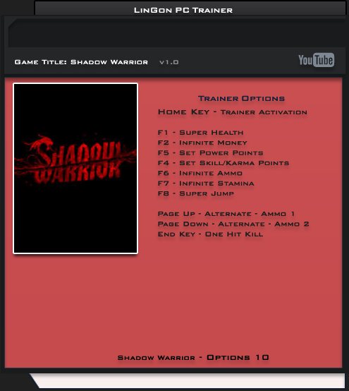Shadow Warrior  v1.0 Trainer +10 [LinGon]