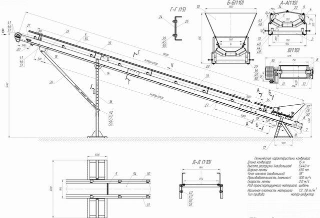 Конструкция и схема механизмов конвейера С.
