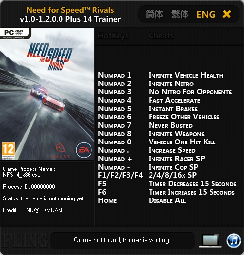 Need for Speed Rivals v1.0-1.2.00 32 & 64 Bit Trainer +14 [FLiNG]