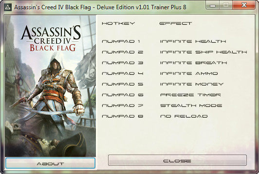Assassin's Creed 4 Black Flag v1.01 + DLC Trainer +8 [GRIZZLY]