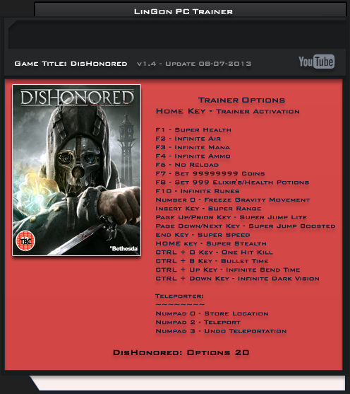 Dishonored Brigmore Witches 1.4 Update 4 Trainer +20 [LinGon]