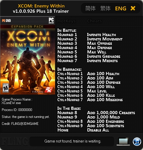 XCOM Enemy Within v1.0.0.926 Trainer +18 [FLiNG]