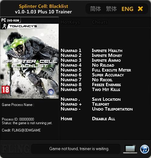 скачать трейнер на игру Splinter Cell Blacklist img-1