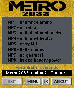 Screens Zimmer 8 angezeig: trainer metro 2033