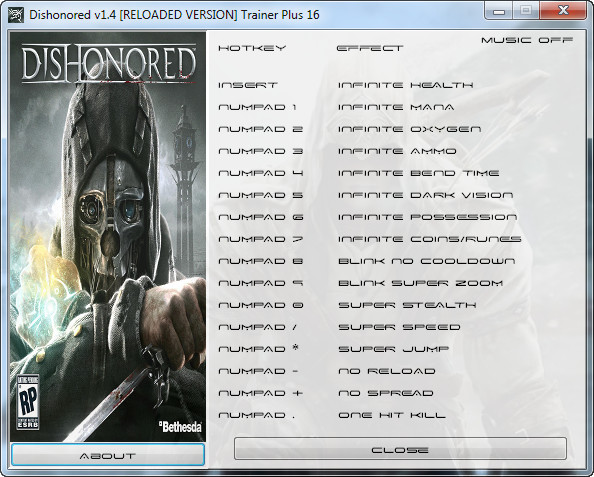 Dishonored: v1.4 +16 Trainer [GRIZZLY]