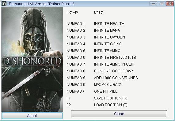 Скачать трейнер для dishonored все версии