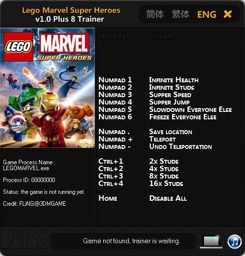 LEGO Marvel Super Heroes v1.0 Trainer +8 [FLiNG]