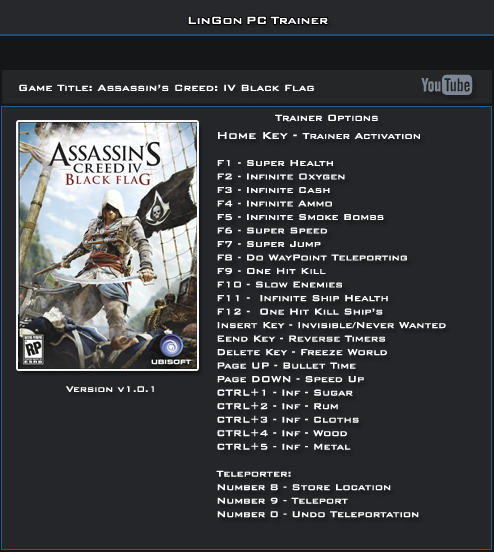Assassin's Creed 4 Black Flag v1.01 Trainer +24 [LinGon]