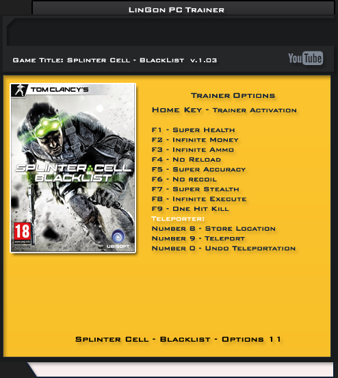 Tom Clancy's Splinter Cell Blacklist v1.03 DX9 & DX11 Trainer +11 [LinGon]