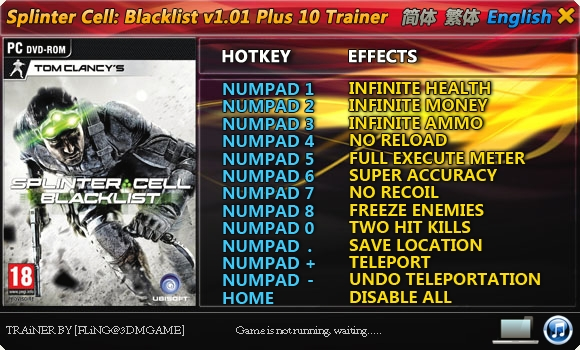 Splinter Cell: Blacklist v1.01 +10 Trainer [FLiNG]