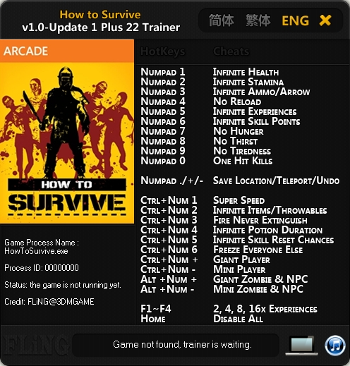 How to Survive v1.0 Update 1 Trainer +22 [FLiNG]