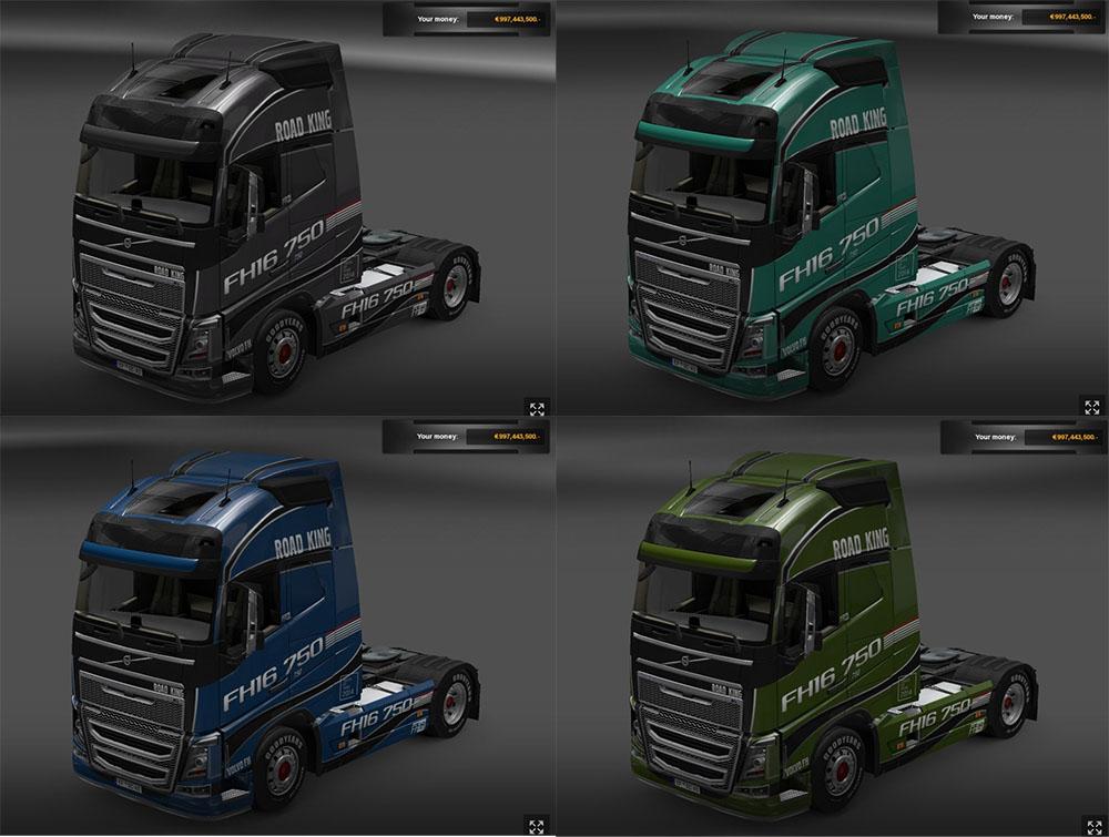 """Euro Truck Simulator 2 """"Десять видов скинов на Volvo FH16 ..."""