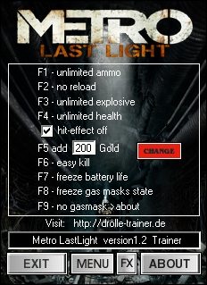 Screens Zimmer 7 angezeig: trainer metro last light