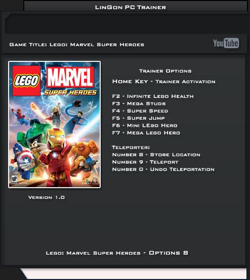 LEGO Marvel Super Heroes: Трейнер/Trainer (+8) [1.0] {LinGon ...
