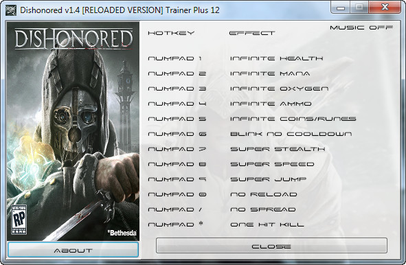Dishonored v1.4 Reloaded +12 Trainer [GRIZZLY]