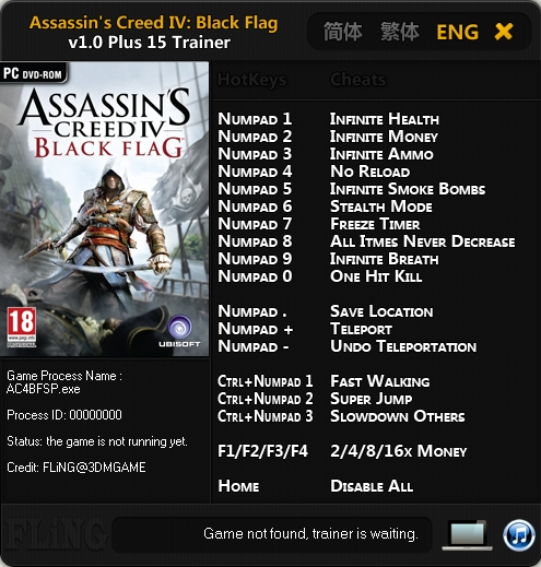 Assassin's Creed 4 Black Flag v1.0 Trainer +15 [FLiNG]
