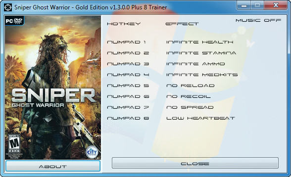 Sniper Ghost Warrior Gold Edition v1.3.0.0 +8 Trainer [GRIZZLY]