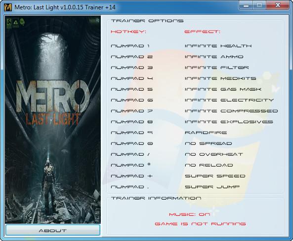 Metro ~ last light redux: трейнер/trainer (+19) [update 2.