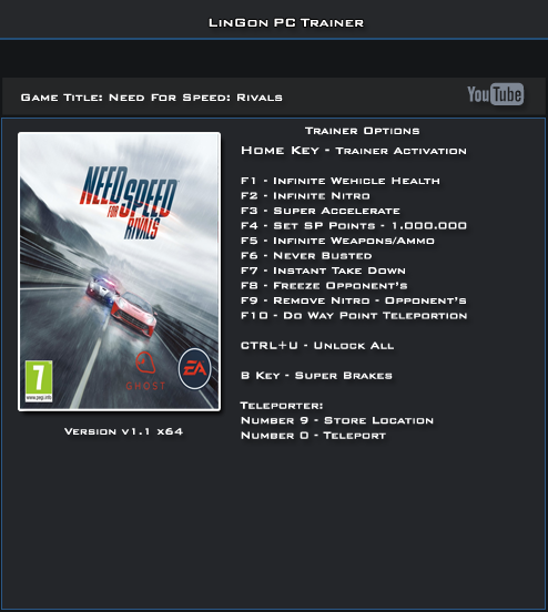Get the need for speed rivals x64 bit 6 trainer for free download.