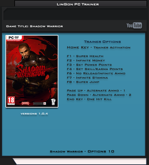 Shadow Warrior v1.04 Trainer +10 [LinGon]
