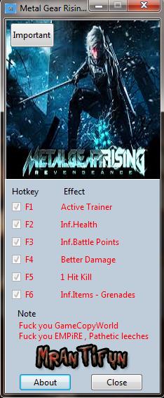 Скачать Трейнер На Metal Gear Rising Revengeance - фото 2
