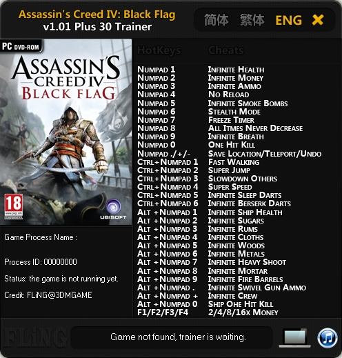 Assassin's Creed IV Black Flag v1.01 Trainer +30 [FLiNG]