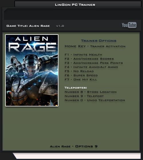 Alien Rage v1.0 Fix STEAM +9 Trainer [LinGon]