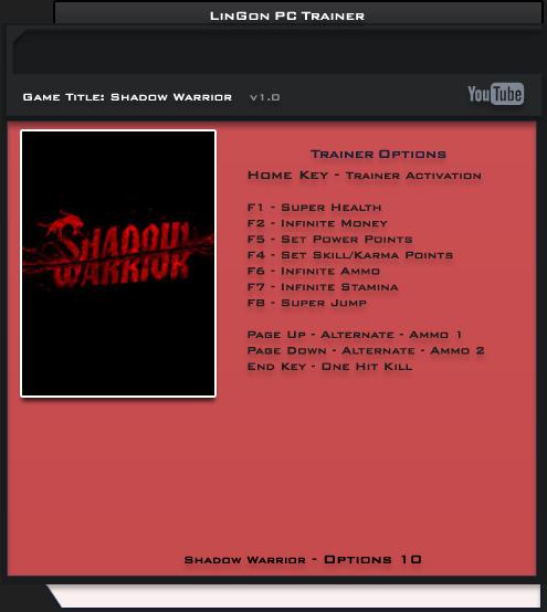 Shadow Warrior  v1.0 Trainer +10 [LinGon]